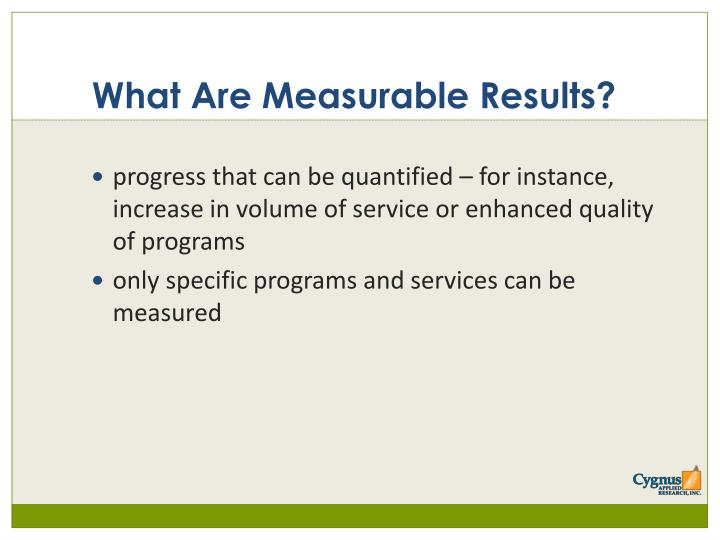 What Are Measurable Results?