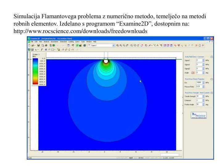"""Simulacija Flamantovega problema z numerično metodo, temelječo na metodi robnih elementov. Izdelano s programom """"Examine2D"""", dostopnim na: http://www.rocscience.com/downloads/freedownloads"""