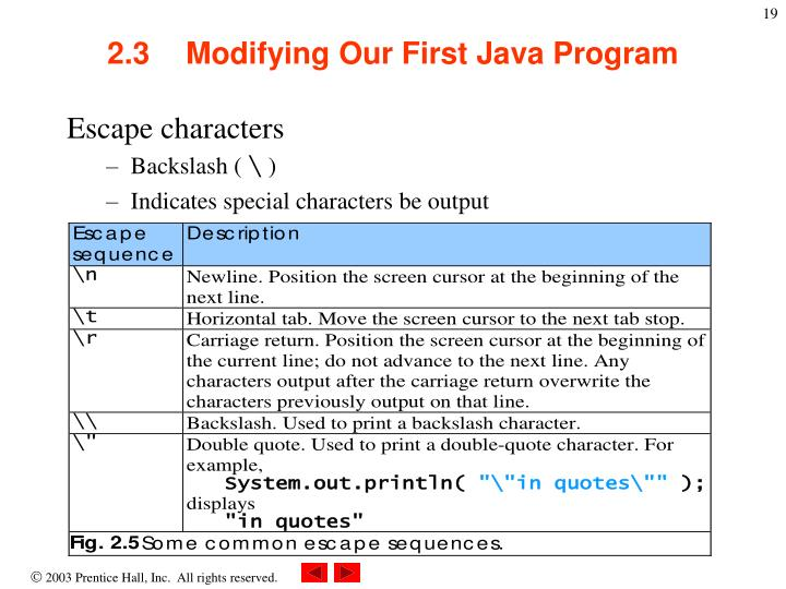 2.3Modifying Our First Java Program