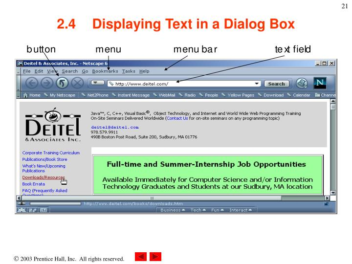 2.4Displaying Text in a Dialog Box