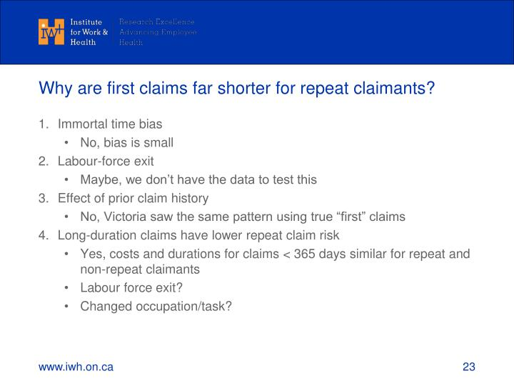 Why are first claims far shorter for repeat claimants?
