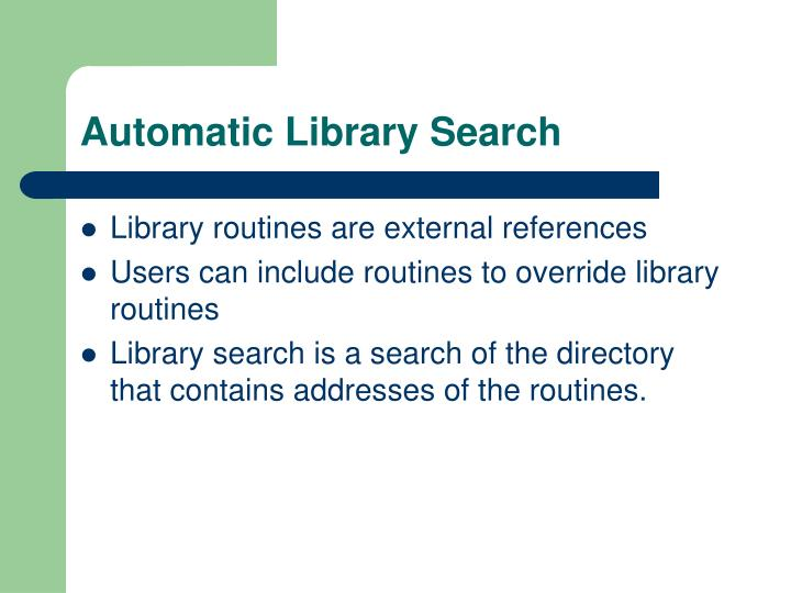 Automatic Library Search