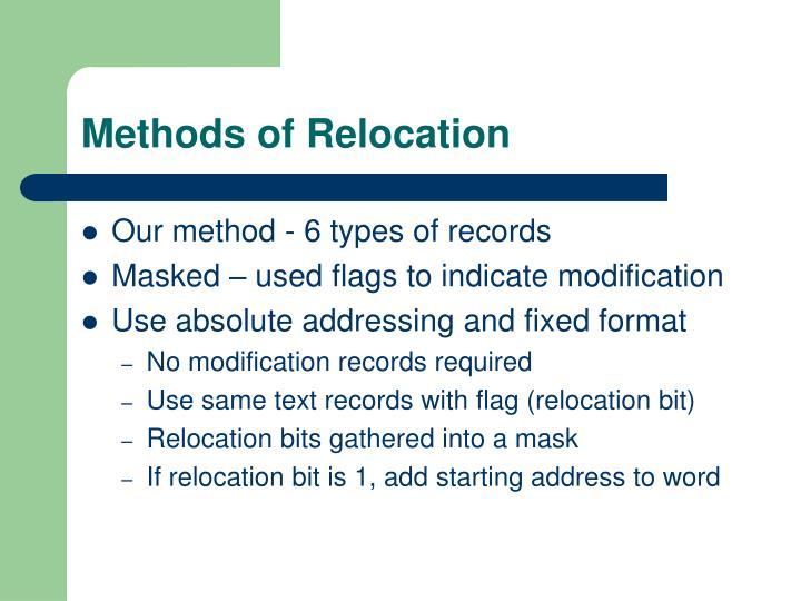 Methods of Relocation