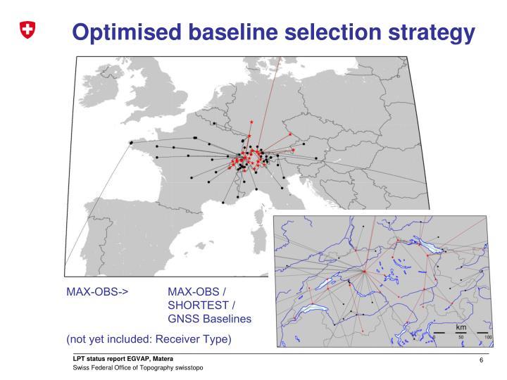 Optimised baseline selection strategy