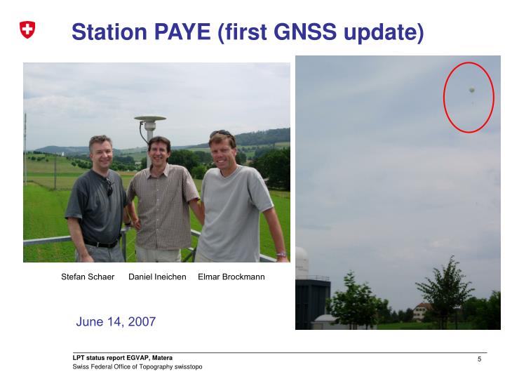 Station PAYE (first GNSS update)