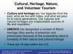 cultural heritage nature and volunteer tourism