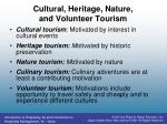 cultural heritage nature and volunteer tourism1