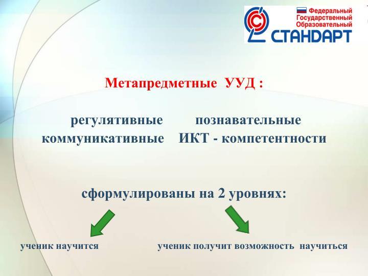 Метапредметные  УУД :