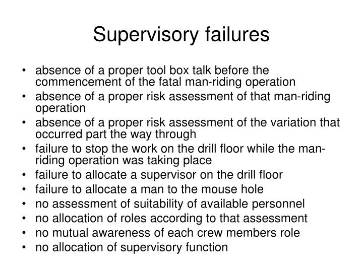 Supervisory failures