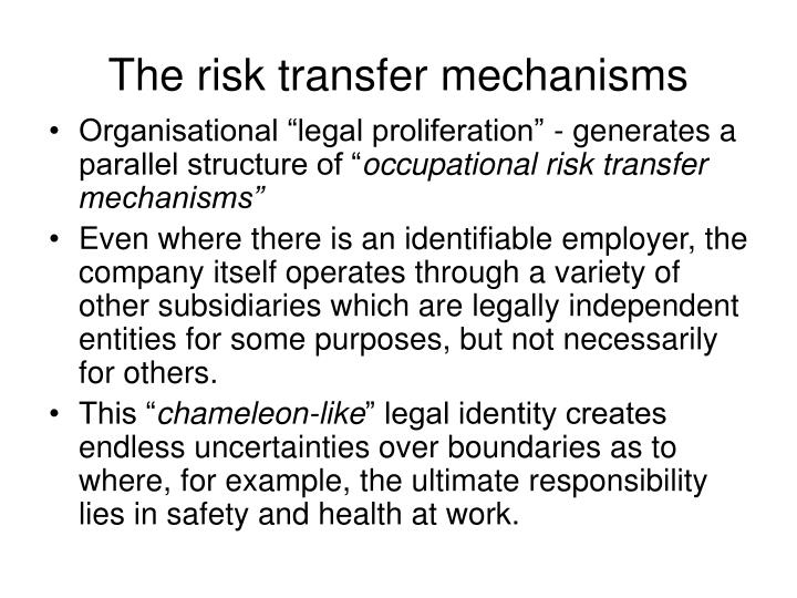 The risk transfer mechanisms