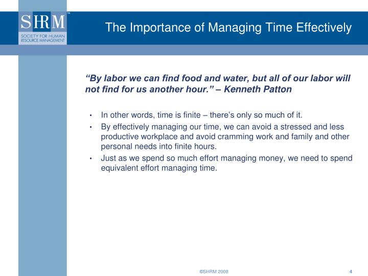 The Importance of Managing Time Effectively