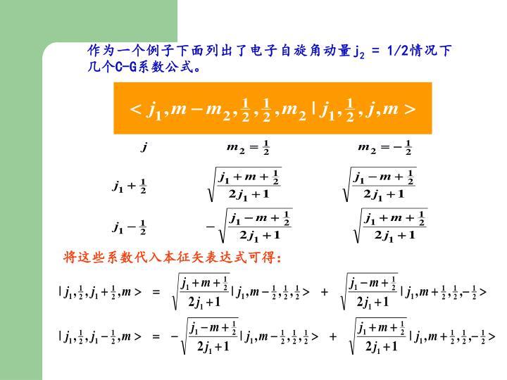 作为一个例子下面列出了电子自旋角动量