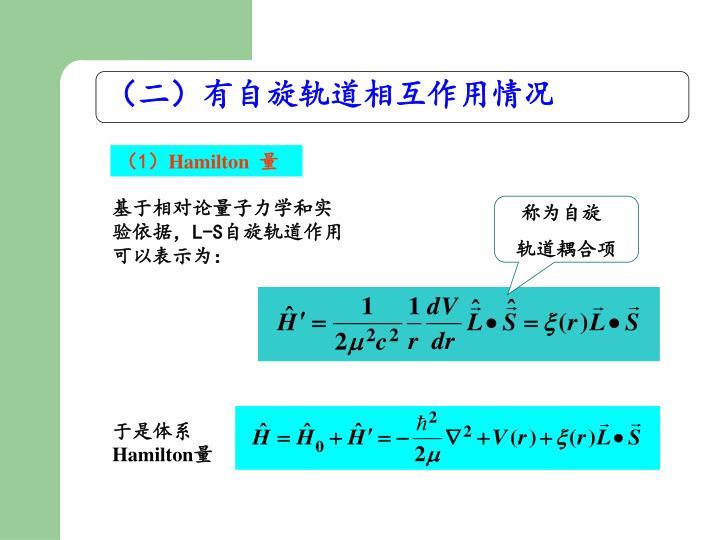 (二)有自旋轨道相互作用情况
