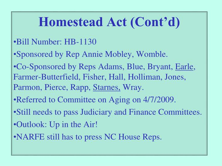 Homestead Act (Cont'd)