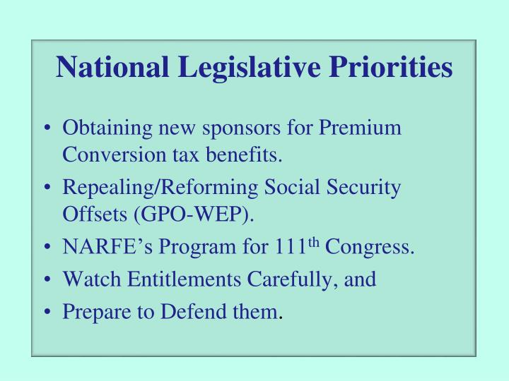 National Legislative Priorities