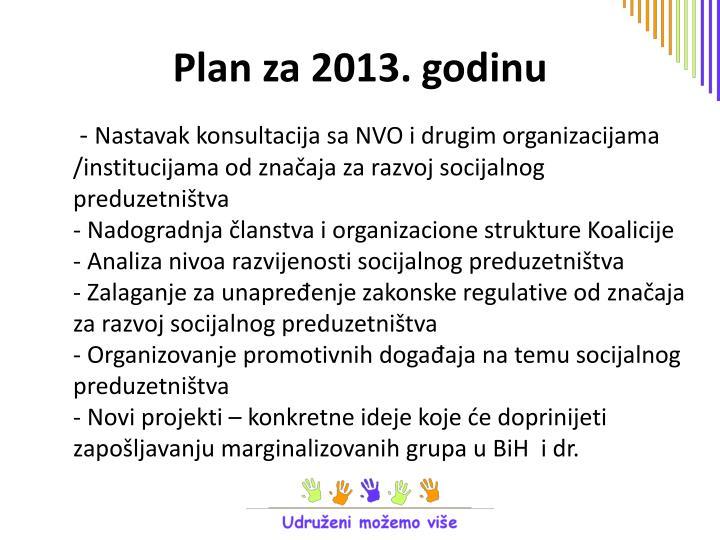 Plan za 2013. godinu
