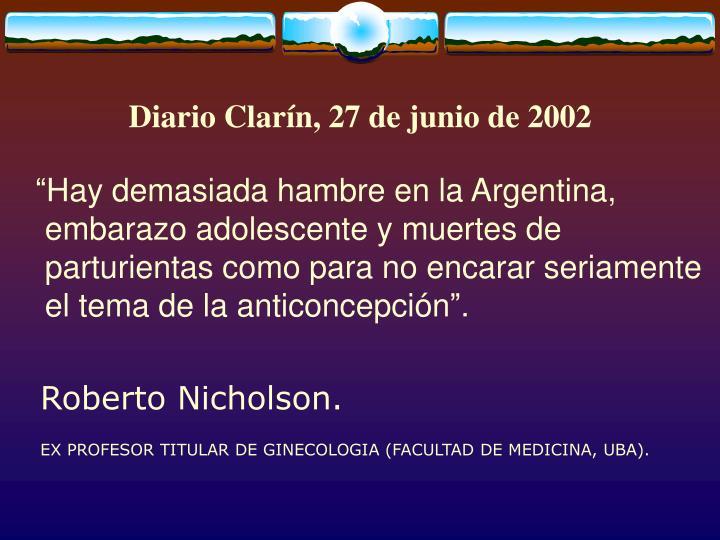 Diario Clarín, 27 de junio de 2002