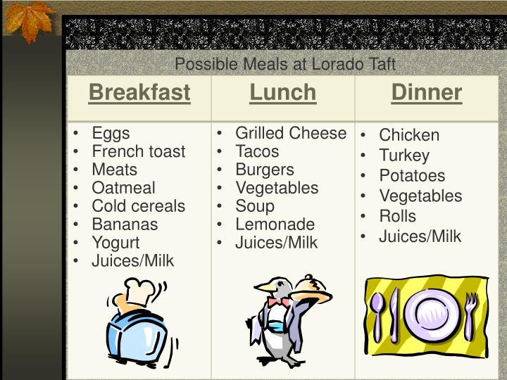 Possible Meals at Lorado Taft
