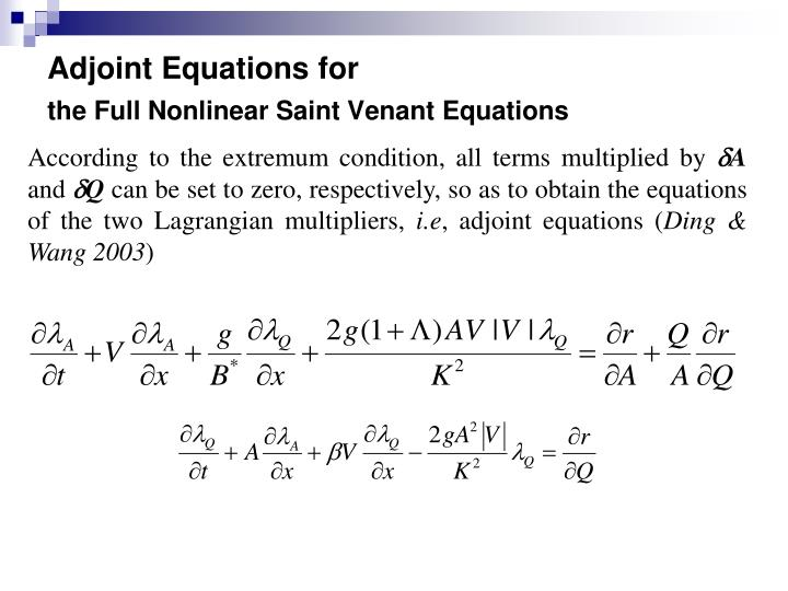 Adjoint Equations for