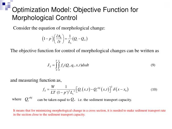 Optimization Model: Objective Function for Morphological Control