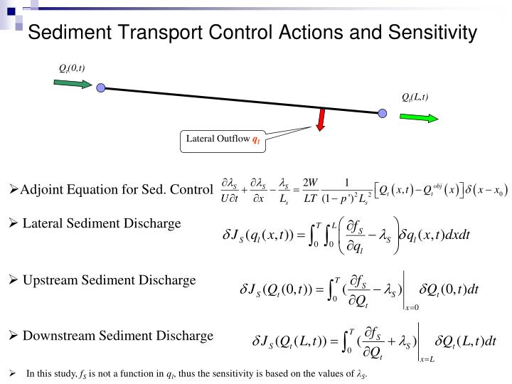 Sediment Transport Control Actions and Sensitivity