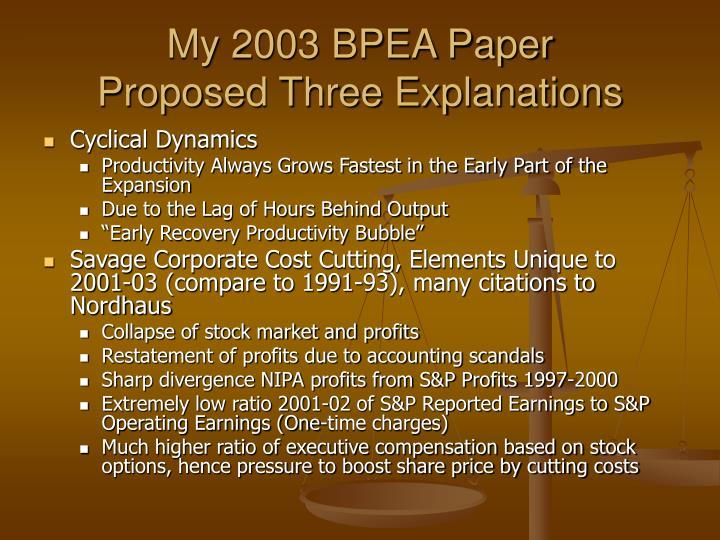 My 2003 BPEA Paper