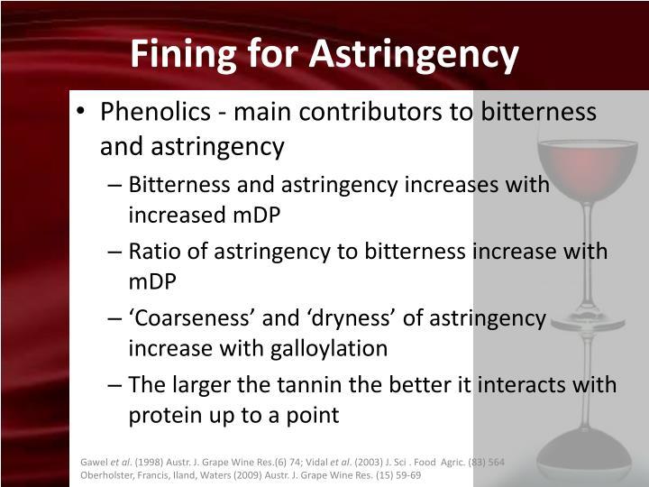 Fining for Astringency