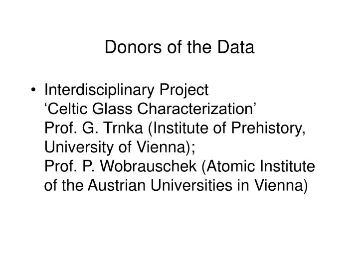 Donors of the data