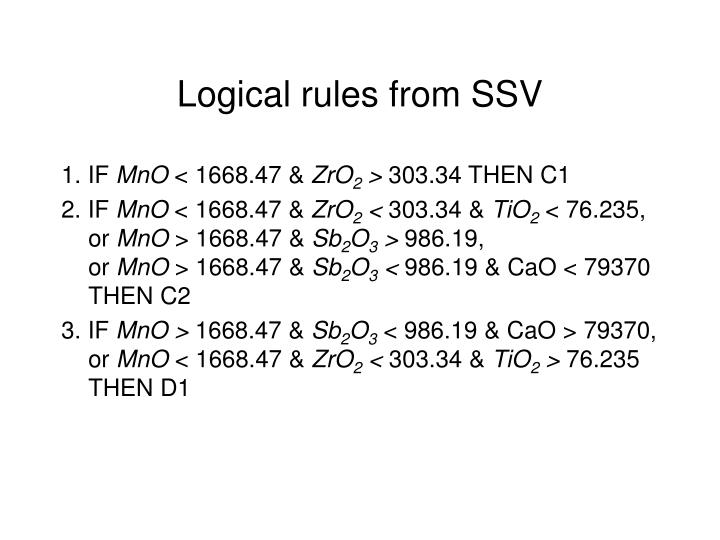Logical rules from SSV
