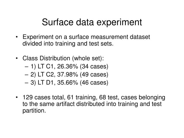 Surface data experiment
