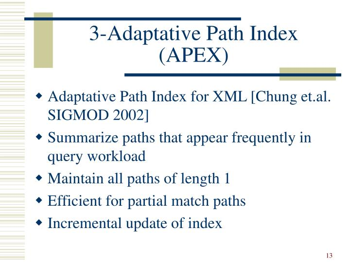 3-Adaptative Path Index (APEX)