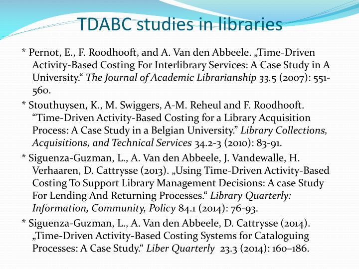 TDABC studies in libraries