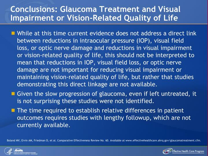 Conclusions: Glaucoma Treatment and Visual Impairment or Vision-Related Quality of Life