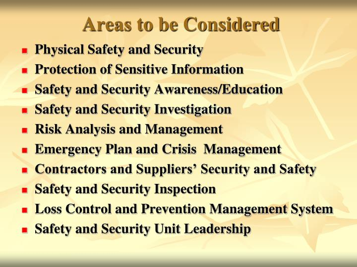 Areas to be Considered