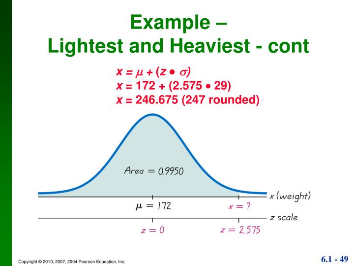 Example –                                   Lightest and Heaviest - cont