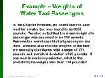 example weights of water taxi passengers