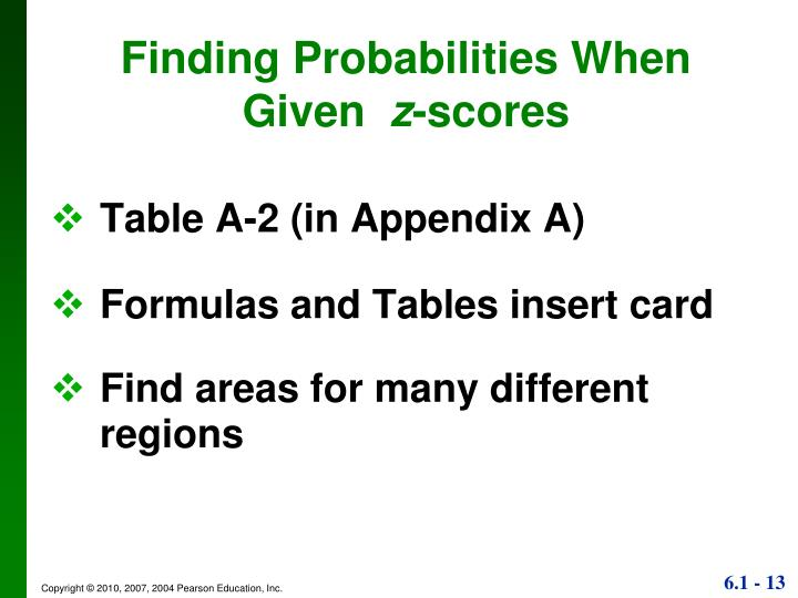 Finding Probabilities When Given