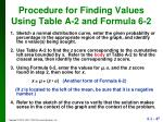 procedure for finding values using table a 2 and formula 6 2