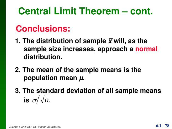 Central Limit Theorem – cont.