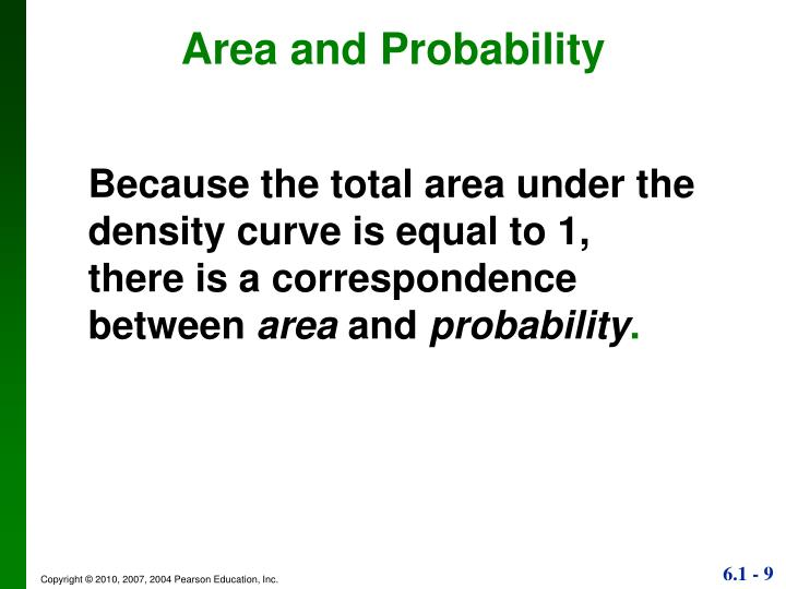 Because the total area under the density curve is equal to 1,