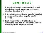 using table a 2