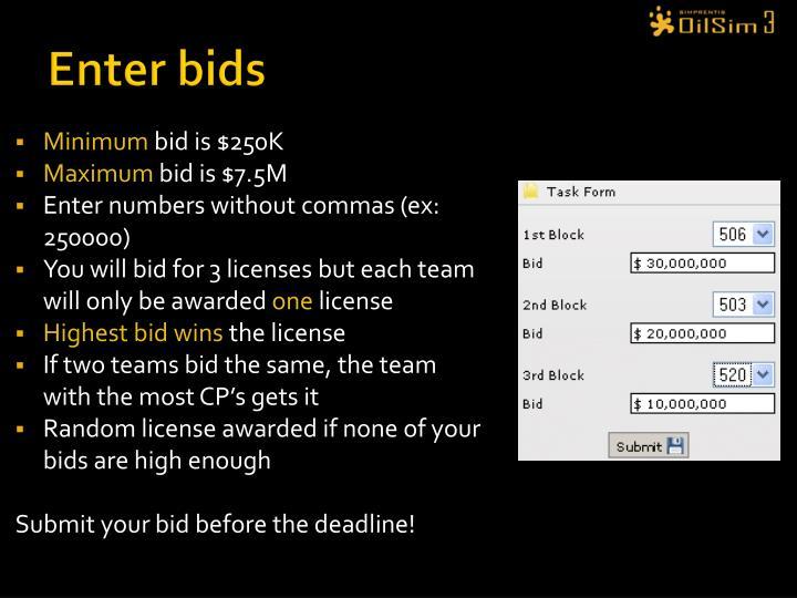 Enter bids