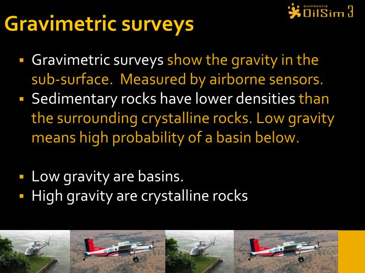 Gravimetric surveys