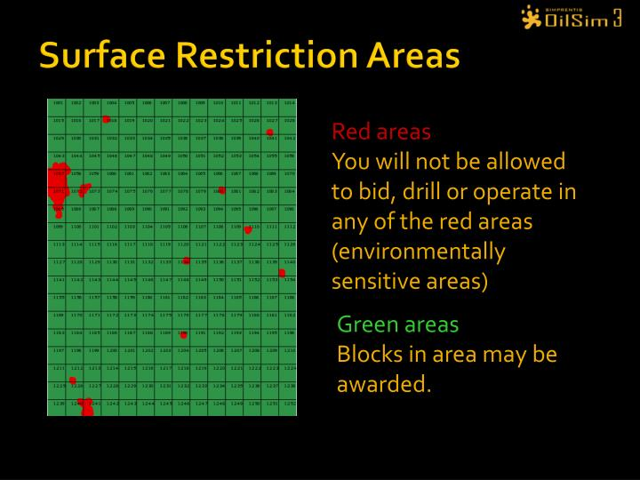 Surface Restriction Areas