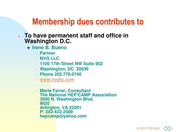 Membership dues contributes to