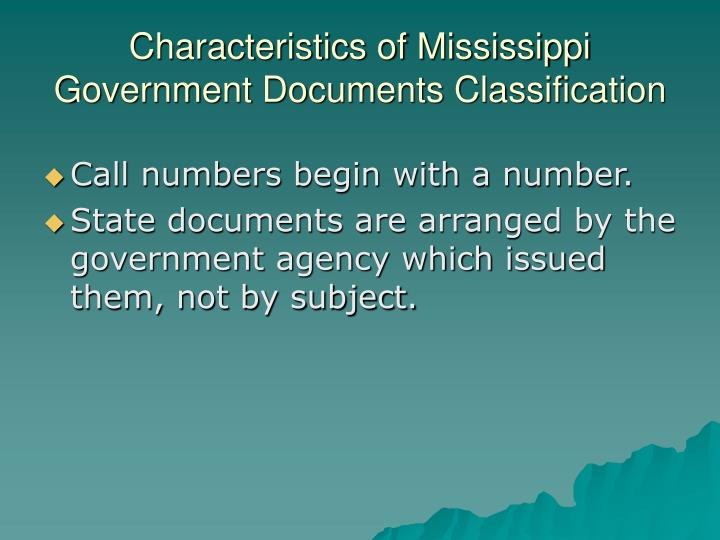 Characteristics of Mississippi Government Documents Classification