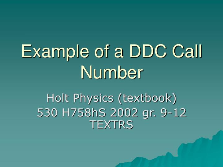 Example of a DDC Call Number