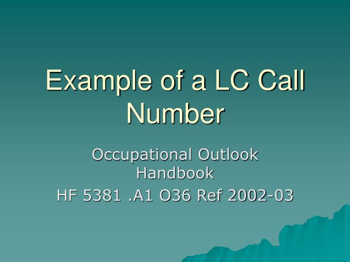 Example of a LC Call Number