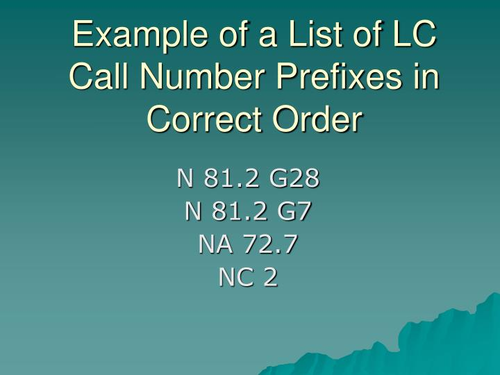 Example of a List of LC Call Number Prefixes in Correct Order