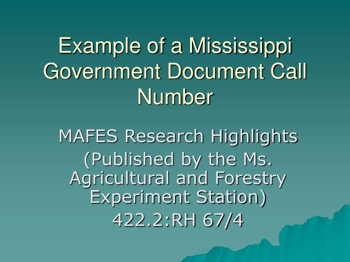 Example of a Mississippi Government Document Call Number